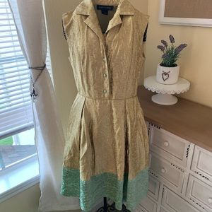 Like New Duro Olowu Gold & Teal Dress in Size 4